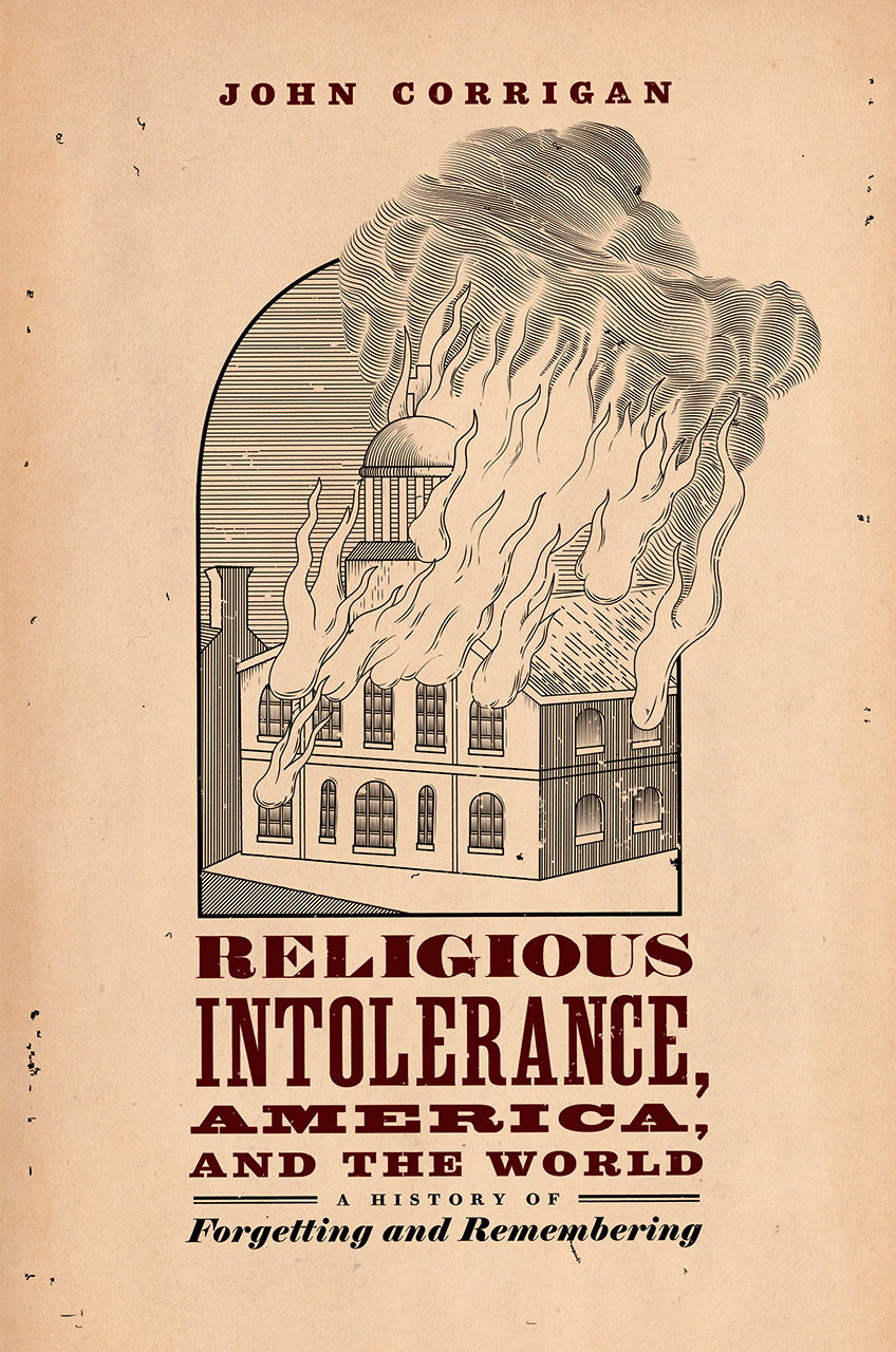 Book cover showing title and a building on fire.